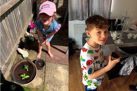 Children with flower shoots