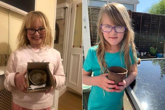 Children with empty plant pots