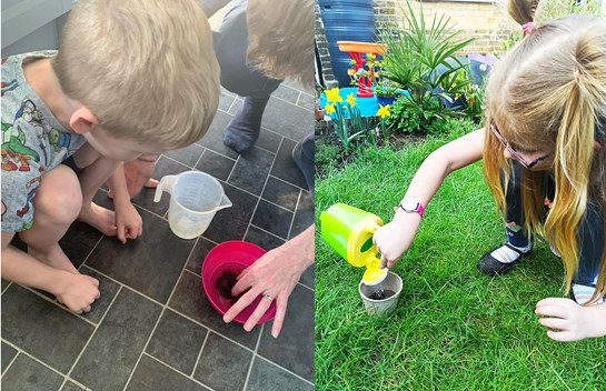 Children planting and watering flowers